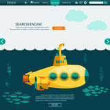 Submarine undersea. SEO website vector template Royalty Free Stock Photo