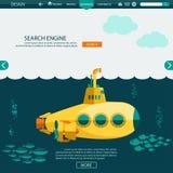 Submarine undersea. SEO website vector template Royalty Free Stock Photo