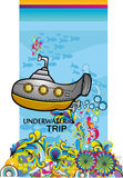Submarine underwater. In the deep ocean Royalty Free Stock Photography