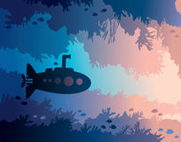 Submarine, underwater cave, coral reef, sea. Cartoon submarine and underwater cave with fishes and silhouette of coral reef on a blue sea. Vector illustration Stock Photography