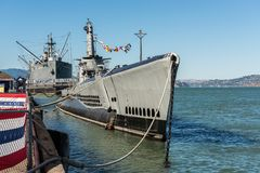 The submarine USS Pampanito near Pier 39 in San Francisco, California, USA royalty free stock photos