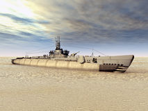 Submarine USS Trigger on Dry Stock Photography
