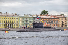 The submarine Vyborg in Day of the Russian Flag at the English embankment, St.-Petersburg Royalty Free Stock Images