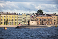 The submarine Vyborg in Day of the Russian Flag, St.-Petersburg Stock Image