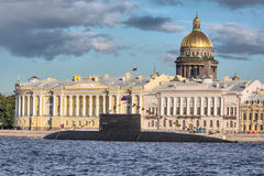 The submarine Vyborg in Day of the Russian Flag, St.-Petersburg Stock Photos
