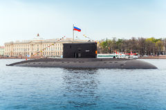 Submarine Vyborg stands moored on the Neva River Royalty Free Stock Photography