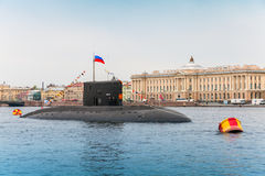 Submarine Vyborg stands moored on the Neva River Royalty Free Stock Photo