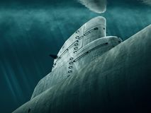 Submarine is waiting under water. Submarine lurking under the sea stock images