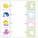 Submarine, whale, coral and octopus. Educational game for kids a Royalty Free Stock Photos