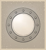Submarine window or porthole in engraving style Stock Photography