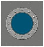 Submarine window or porthole with underwater view Stock Photo