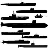 Submarines. Navy. A set of paths submarines. Black and white illustration of a white background Stock Photography