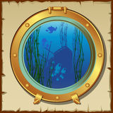 Submarines porthole with underwater view landscape Royalty Free Stock Photos