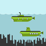 Submarines vector illustration Royalty Free Stock Photography
