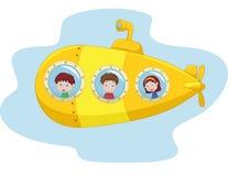 Submarino amarelo dos desenhos animados Imagem de Stock Royalty Free