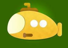 Submarino amarelo no fundo verde Imagens de Stock