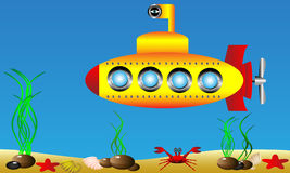 Submarino amarillo stock de ilustración