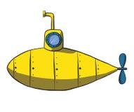 Submarino amarillo de la historieta. Mano del vector dibujada libre illustration