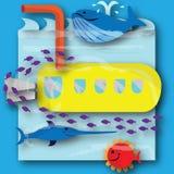 Submarino amarillo debajo del mar con los pescados Imágenes de archivo libres de regalías