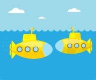 Submarino amarillo en el mar azul libre illustration
