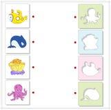 Submarino, baleia, coral e polvo Jogo educacional para as crianças a Fotos de Stock Royalty Free