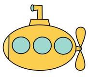 Submarino bonito do amarelo dos desenhos animados isolado na ilustração branca do vetor do fundo Fotografia de Stock