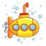 Submarino com bolhas de ar ilustração royalty free