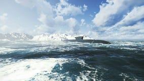 Submarino de la clase de Borei del ruso en las aguas septentrionales ilustración del vector