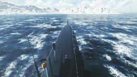 Submarino de propulsión nuclear ruso en las aguas septentrionales libre illustration