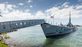 Submarino de USS Bowfin, segunda guerra mundial Pearl Harbor (Oahu - Hawa imagens de stock royalty free