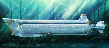 Submarino debajo del agua Imagenes de archivo