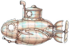 submarino del Vapor-punky stock de ilustración