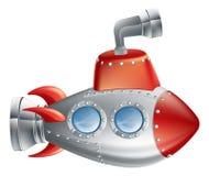 Submarino dos desenhos animados do divertimento Fotos de Stock