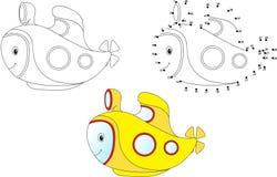 Submarino dos desenhos animados Ilustração do vetor Coloração e ponto a pontilhar Imagem de Stock