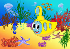 Submarino dos desenhos animados no oceano Fotos de Stock