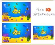 Submarino e peixes sob a água Cavalo marinho, medusa, coral e s Imagens de Stock