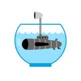 Submarino en acuario Periscopio por encima de la superficie Espacio de la supervisión Fotografía de archivo