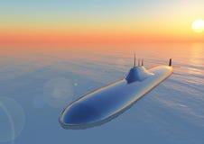 Submarino en la puesta del sol Fotografía de archivo