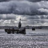 Submarino na doca de NDSM em Amsterdão fotografia de stock
