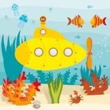 Submarino no oceano Imagens de Stock