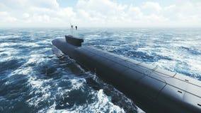 Submarino que flota lejos en la distancia libre illustration