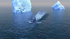 Submarino que viaja en la superficie del Océano ártico Fotos de archivo libres de regalías