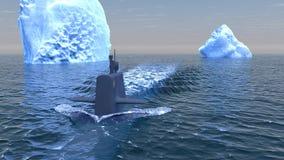 Submarino que viaja en la superficie del Océano ártico Foto de archivo libre de regalías