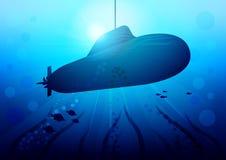 Submarino realista en el resplandor del sol debajo del agua entre algas y pescados stock de ilustración