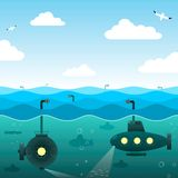 Submarinos no mar aberto Foto de Stock Royalty Free
