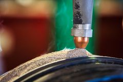 Submerge arc welding process for hard surfacing Royalty Free Stock Photography