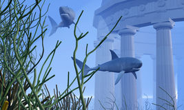 Submerged. Two Mako sharks swim by a greek temple submerged in the ocean depths Royalty Free Stock Photo