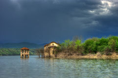 Submerged abandoned church in Ogosta dam, Bulgaria Royalty Free Stock Images