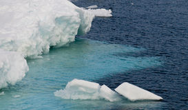 Submerged Antarctic Icebeg. The submerged lower portion of an iceberg sits close to the surface, making the waters above it seem turquoise Stock Image