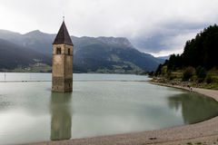 Submerged bell tower or Resia royalty free stock photo